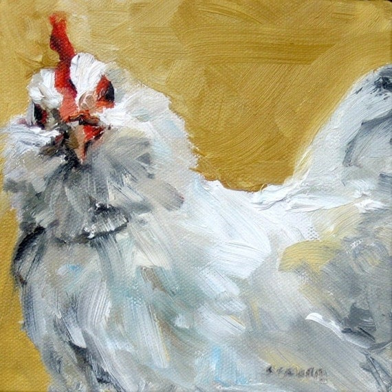 RESERVED for C Gallina Blanca Impasto Oil Original Chicken Painting on Canvas