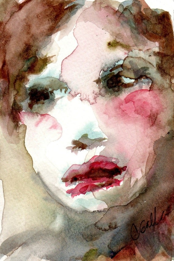 Pink Red and Olive Green Original Watercolor Painting of Womans Face With Mat