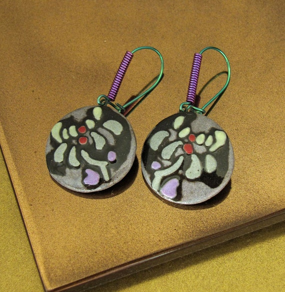 Porcelain Disc Earrings with Asian Floral Pattern in Green Gray