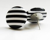 SALE all strips black and white stud earrings