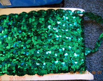 1 Yard Emerald Green Sequin Trim