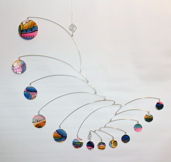 Art Mobile Kinetic Art Nursery Mobile Rainbow By