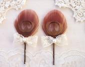 4 Bridesmaid Hair Accessories, Hair Pins, Spring Wedding, Latte Wedding - Lace Bow - pink, blush, ivory - Bridesmaid Gift