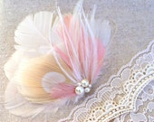 Bridal Hair Accessory, Bridal Headpiece, Hair Clip, Feather Fascinator CHAMPAGNE - Pink Blush, Ivory - Romantic, Ethereal, Vintage