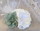 Winter Wedding Bridal Fascinator Flower Soft White and Mint - WHIMSY Hair Piece, Head Piece, Hair Clip - Romantic, Whimsical, Vintage