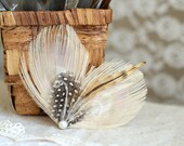 Ivory Feather Fascinator, Bohemian Hair Accessory TIGER LILLY