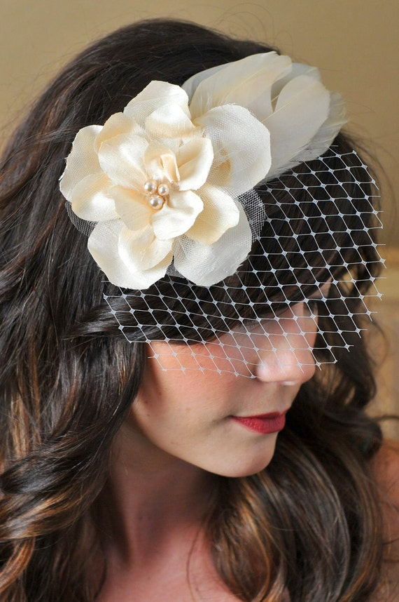 Flower and Feather Fascinator with Teardrop Veil - Golden Champagne, Pearl, Ivory - Bridal Headpiece, Birdcage Veil, Wedding Hair Accessory