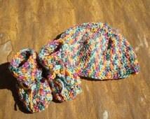 Handmade Crochet Wool Blend Hat and Bootie Set - Gender Neutral - Harvest 459