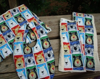 Baby Shower Gift Set - Waterproof Soft Cotton Bib, Burp Cloths, Changing Pad - Embellished Diaper Set - Animal Faces 834