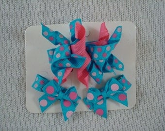 Korker Hair Bow with Matching Mini Clip Set - Turquoise Dots