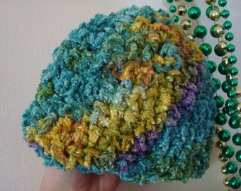 Silky Hand-Dyed Rayon, Crocheted Baby Girls Beanie Hat - 3 to 6 mos - Lagoon 239