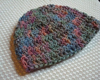 Infant Summer Beanie Hat - Crocheted of Hand-Dyed, Soft Rayon\/Cotton - Meadow 254