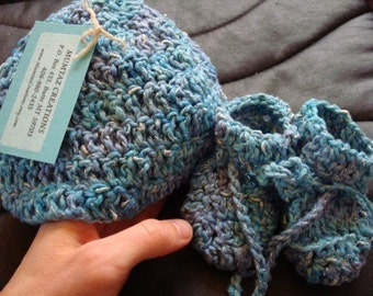 Soft, Snuggly, Crocheted Cotton Silk  Baby Boy Hat and Bootie Set - Blueberry 227