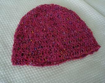 Multicolored Crocheted Silk Blend Girls Lightweight Fashion Hat - Raspberry 389