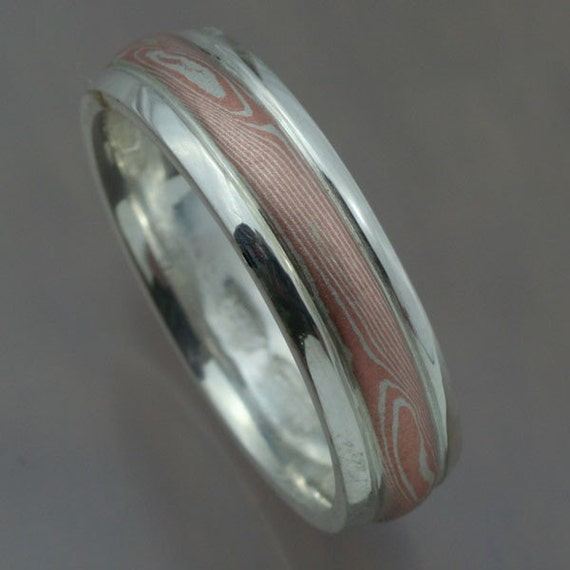 mokume gane wedding band sterling silver and copper