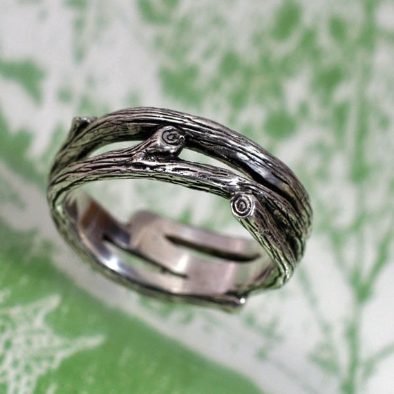 Twigs and Branches Band - a Natural Wedding Ring in Sterling Silver