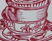 red letterpress teacup stack linocut print