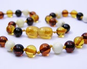 Multicolored round baltic amber teething necklace