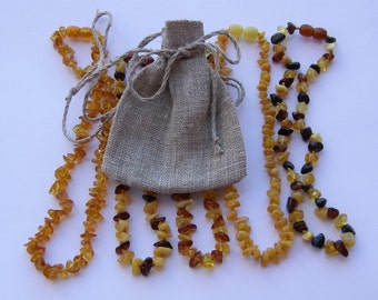 Gift pack of 5 amber teething necklaces - free gift bag