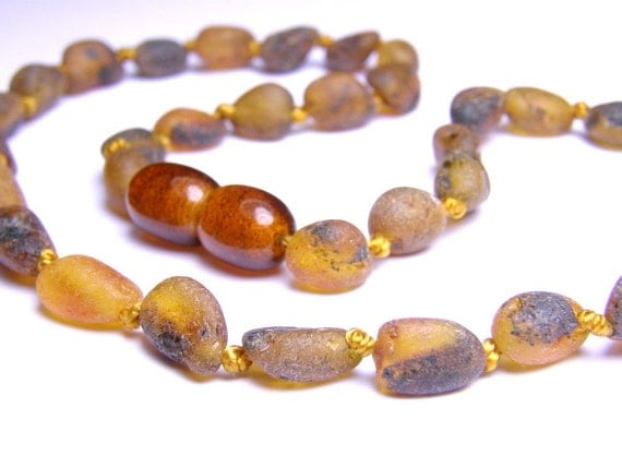 Raw grey amber nuggets teething necklace