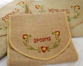 ONE OF A KIND Antique HAND MADE Embroidered Set of LINEN Cutlery Holders