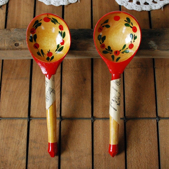 PERFECT Pair of Painted Spoons NEW Old