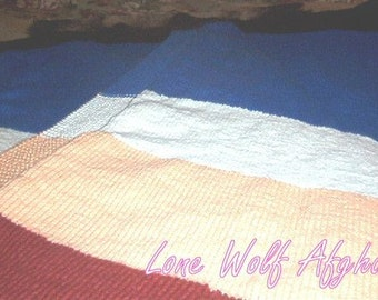 Hand Knitted Wool Ease Mix Afghan
