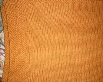 Hand Knitted Gold Baby Afghan