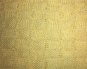 Hand knitted baby afghan in basket weave pattern NO trim