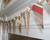 Shabby Chic Bunting - Festive Vintage Paper Posies and Pennant Party Banner