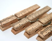 Shabby Chic Wood Clothespin Set - Music Notes Vintage Musical Notation Stamp