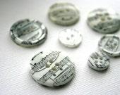 DESTASH - Music Buttons - Vintage Sheet Music Hand Stamped Embellishment