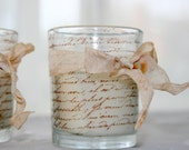 French Script Candle - Shabby Chic Hand Stamped Votives Tied with Vintage Dyed Ribbon Hostess Gift
