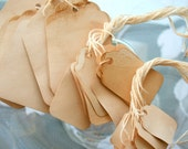 Tea Stained Tags - 100pc. Medium Set - Shabby Chic Event Decor - Weddings and Party - Medium Lot