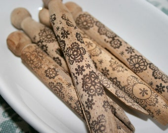 Vintage Style Wooden Clothespins - Stamped and Distressed - Lace Flowers
