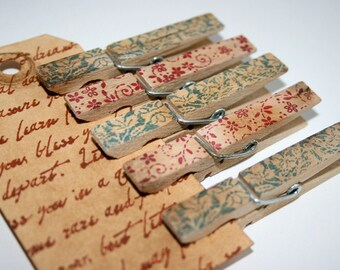 Vintage Style Clothespin Set - Stamped and Distressed - Blue Brocade & Ruby Red Blossoms