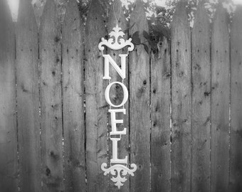 CLEARANCE - White Noel Christmas Wall Decoration - Large Shabby Cottage Chic Metal Holiday Home Decor Door Christmas Sign