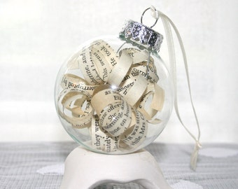 Pride and Prejudice Ornament - Jane Austen - Shabby Chic Vintage Book Pages for Christmas Decor - Featured in the National Post Black Friday