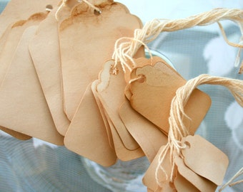 Gift Tags -100pc. Large Set - Shabby Chic Event Decor - Weddings and Party - Tea Stained Large Lot - Wedding Favors - Party Favors - Present
