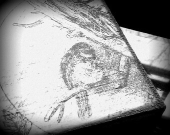 Keepsake Box - Black and White Embossed Bird - Mother's Day Gift - OOAK Home Decor - Wooded Keepsake Gift Box