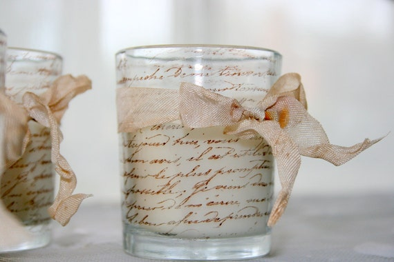 French Script Candle - Shabby Chic Hand Stamped Votives Tied with Vintage Dyed Ribbon