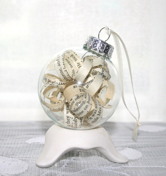 Pride and Prejudice Ornament - Shabby Chic Vintage Book Pages in Glass Bulb for Christmas Decor