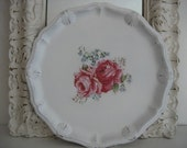Shabby Romantic Cottage White Dresser Tray Adorned With Roses