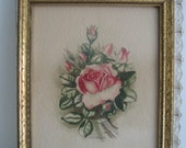 Gorgeous Shabby Vintage Signed Watercolor Print Lush Rose in Gold Frame