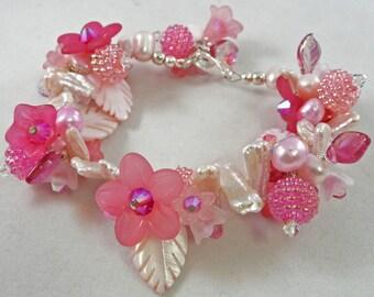 Pink Flower Garden Bracelet