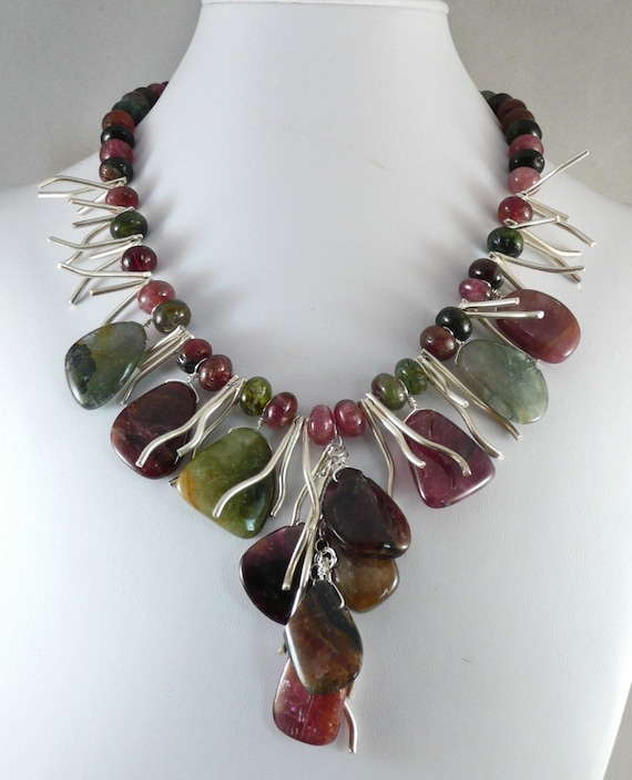 RESERVED FOR Saranya/Tourmaline Rhubarb Necklace