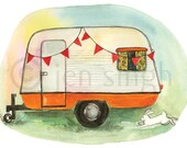 Retro camper watercolor reproduction print- Lydia