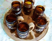 WESTERN SET - WOODEN TRAY AND 6 MATCHING SIESTA WARE AMBER MUGS WITH WOOD HANDLES - PRICE REDUCED FROM 36 TO 20 DOLLARS