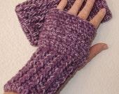 Crocheted Fingerless Gloves / Wrist Warmers - Purple Delight