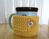 Crocheted Mug Mitten / Cup Cozy - Pale Gold
